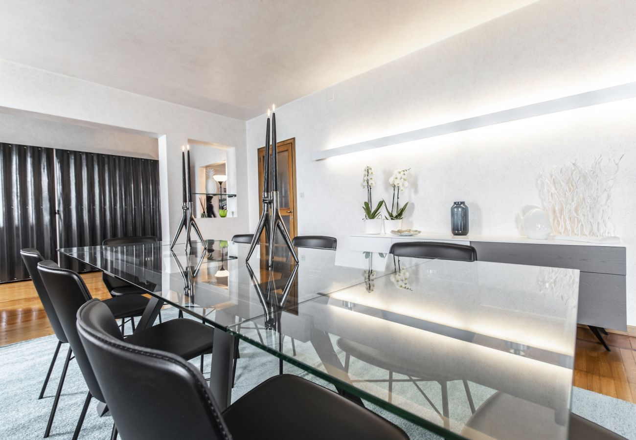 Dining room with an elegant glass table
