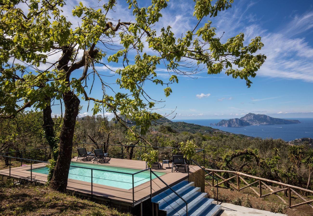 vacation villa casa aprea pool, with panoramic sea and capri views