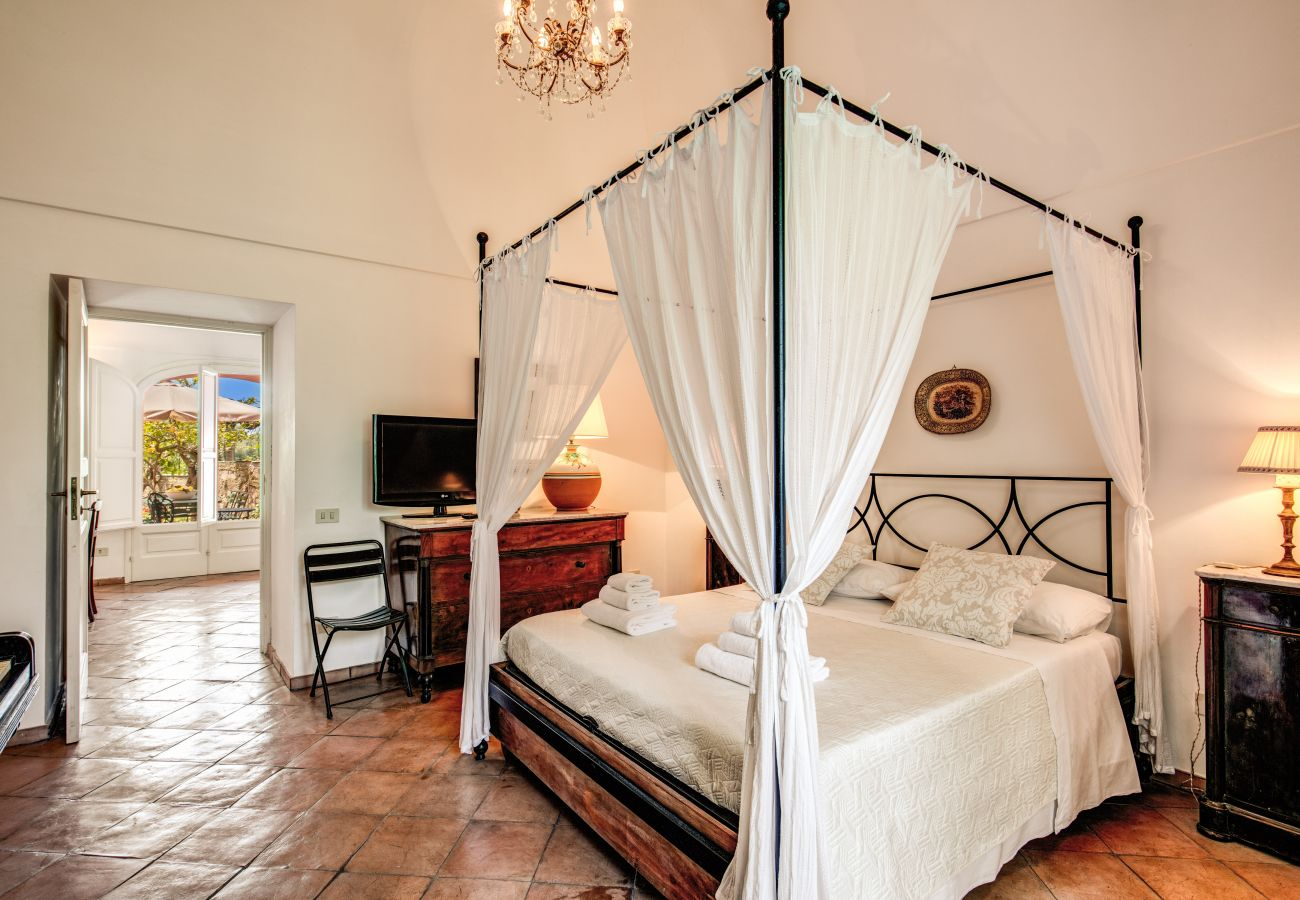 canopy bed in a wide bedroom with tv and air conditioning